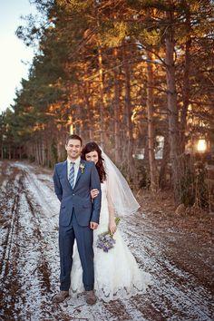 winter wedding with light snowfall