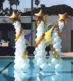 Photo by Balancia Chapital Balloon Tower, Balloon Backdrop, Balloon Columns, Balloon Garland, Balloon Decorations, Decoration Party, White Balloons, Foil Balloons, Wedding Balloons