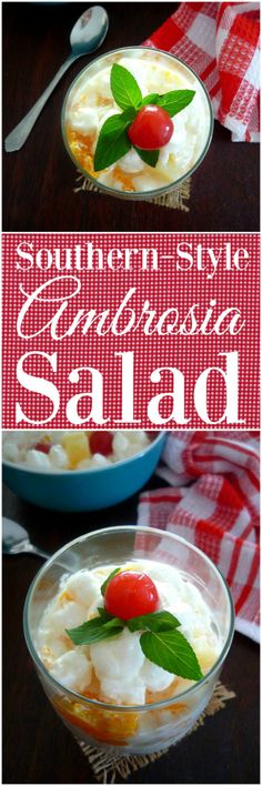Years ago, the decadent sweet iconic dessert Southern Ambrosia Salad would  start as a simple 3 ingredient dessert recipe consisting of only freshly grated coconut , orange pulp or sliced oranges, and a bit of sugar, these days it has become the epic experience depending on who is in charge of making this  vintage Southern Dessert.