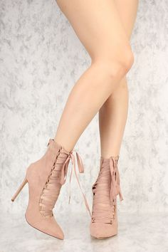 Mauve Strappy Lace Up Pointy Toe Single Sole Booties Faux Suede Bootie Sandals, Lace Up Sandals, Lace Up Heels, Shoes Sandals, 5 Inch Heels, Digital Illustration, Mauve, Stiletto Heels, Beautiful Women