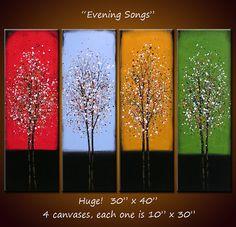 """Arte 40"""" a través del arco iris pared arte paisaje Original abstracta pintura árboles grandes.. .red azul verde amarillo... Canciones de la noche"""