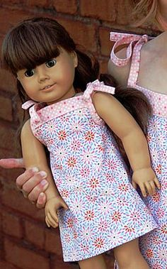 """FREE PDF PATTERN: Popover Dress for 18"""" Dolls. Site has many more free patterns for dolls."""
