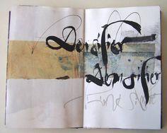 Ces recherches calligraphiques sont réalisées sur un carnet Lalo, sur papier Ingres qualité archives. Chaque double page mesure 16,7 x 21 cm...