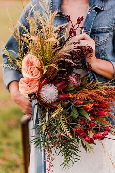 Gorgeous fall wedding bouquet with red king protea and wild greenery Fall Wedding Bouquets, Fall Wedding Flowers, Flower Bouquet Wedding, Autumn Wedding, Wedding Colors, Protea Wedding, October Wedding, Bridal Bouquets, Floral Bouquets