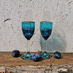 Blue Champagne Flutes, Painted Wedding Flutes, Blue Champagne Glasses, Blue Wedding Glasses, Painted Toasting Glasses, Blue Toasting Flutes by MariGlassAtelier on Etsy