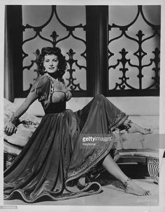 Portrait of actress Maureen O'Hara in costume, as she appears in the movie 'Bagdad', 1949.