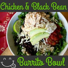 Make your own Mexican-inspired chicken burrito bowl with cilantro-lime rice and all the trimmings. This recipe uses black beans, but you can substitute pinto beans if you prefer. With fresh salsa, a squeeze of lime, and creamy Greek yogurt on top of crisp romaine lettuce, no other dressing is needed.  For recipe visit - FB.com/GetFitwithJanetTeamMarrero
