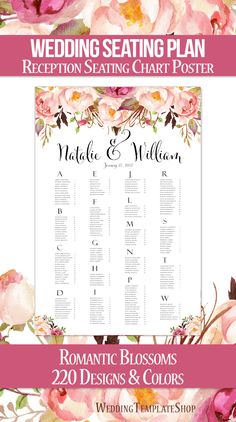 Wedding Seating Chart Poster Flourish Gold Print Ready Digital