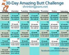 30-Day Amazing Butt Challenge {monthly workout calendar}