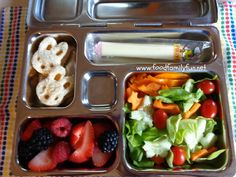 Food, Family, Fun.: Vegetarian Sandwich & Salad Lunch packed in a @Planet Box rover lunchbox