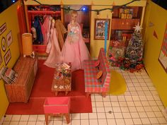 A beautiful vintage Barbie in her dreamhouse.