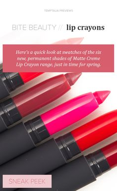 New Bite Beauty Matte Creme Lip Crayons! Bite Beauty, Beauty Make Up, Bubble Gum Flavor, Givenchy Beauty, Flavored Lip Gloss, Smokey Eye Tutorial, Makeup Swatches, Beauty Junkie, Contouring And Highlighting