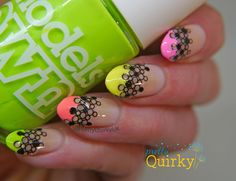 Neon French tips with the Models Own Polish for Tans collection and nail art stickers from Charlie's Nail Art