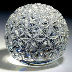 """Waterford Crystal paperweight - """"Millenium Times Square 2002 Ball""""... 3 1/8""""w x 2 1/4""""t, 28.5oz - #0386"""