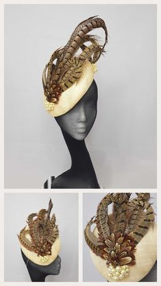 Lorraine - Sinamay cap with hand curled pheasant feathers finished with handsewn pearls #kjmillinery
