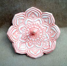 Coral Lotus Ceramic Ring Holder Bowl by dgordon on Etsy.