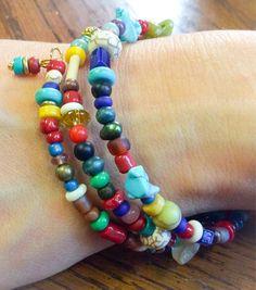 Armband Stacker Multicolor Perlen von ChrisFrancisco auf Etsy
