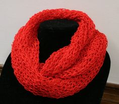 Infinity Scarf  hand knitted Bright Red with red metallic sparkle.