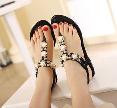 2017 New Korean Rhinestone Sandals Women Bohemian Beaded Large Size Shoes Woman 34-40