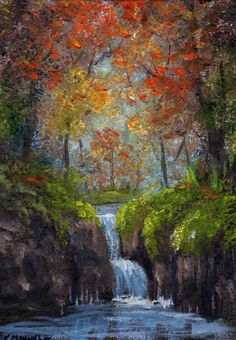 "ACEO Miniature Oil Painting""Woodland Falls"" Creek,Fall,Forest,Autumn by K.Manuel #Miniature"