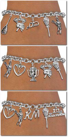 Lacrosse Five Charm Bracelet - Silver Chain Bracelet W Silver Charms
