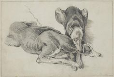 Two Whippets by Sir Edwin Henry Landseer