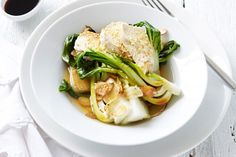 Poached chicken breast with sesame oil + baby bok choy- quick + healthy recipe by Michelle Bridges.