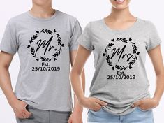 sport grey T-Shirts set. His and her set, with custom wedding date. Newly weds, Husband and wife by SoulGoldTees on Etsy New Baby Announcements, First Fathers Day, Custom Items, Newlyweds, T Shirts For Women, Free Uk, Grey, Sports, Cotton