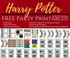 Enjoy these FREE illustrated Harry Potter Party Printables perfect for Birthdays, Halloween, Movie marathons. or just because Harry Potter parties! Baby Harry Potter, Harry Potter Enfants, Harry Potter Banner, Classe Harry Potter, Harry Potter Thema, Harry Potter Printables, Theme Harry Potter, Harry Potter Baby Shower, Harry Potter Houses