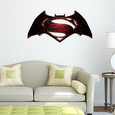 #Superman vs batman logo superheroes kids boy bedroom #decal wall art #sticker, View more on the LINK: http://www.zeppy.io/product/gb/2/272103183681/