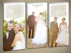 Hey, I found this really awesome Etsy listing at http://www.etsy.com/listing/161431310/triple-photo-wedding-canvas-with-vow-art