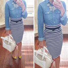 Stripes and chambray: - button up denim shirt, navy and white stripe skirt, beau bag, navy bow belt, sunburst statement necklace, khaki and white bow purse, chartreuse pumps  - work outfit  // StylishPetite.com