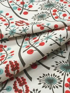 Bright winter berries on our fabric 'Hedgerow'. Design by . Textile Pattern Design, Textile Patterns, Textile Prints, Fabric Design, Pattern Designs, Angie Lewin, Free Machine Embroidery, Fabric Paper, Repeating Patterns