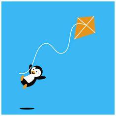 Penguin flying a kite T-Shirt Illustration by student Raechel Livingston