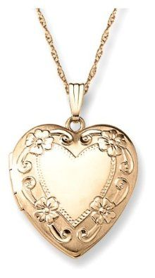 """You Save: $73.00 (58%)  14k Yellow Gold Filled Engraved Heart Locket, 20"""": Jewelry: Amazon.com Price: $52.00"""