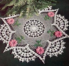 Vintage Crochet PATTERN to make - Irish Rose Flower Doily Motif.