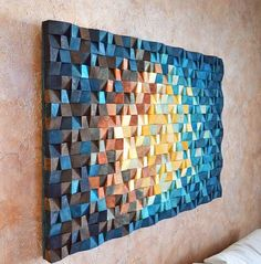 Das Universum - Holz-Wand-Kunst in blau Marine blau gelb orange braun, Holz-Mosaik-Skulptur, abstrakte Malerei auf Holz, 3 d Wand-Kunst-Dekor Wood Wall Art The Universe is a geometric art decor and th
