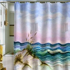 31 Ideas Bath Room Shower Curtains Beach Living Rooms For 2019 Ocean Bathroom, Small Bathroom With Shower, Tropical Curtains, Beach Living Room, Living Rooms, Beach Shower Curtains, Shell House, Outdoor Bathrooms, Diy Bathroom Decor