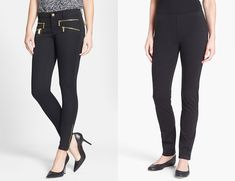 correct way to wear skinny pants with heels and flats. Warn at the ankle or just above