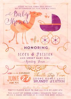 Nicci at Paper Mango designed this adorable camel baby shower invitation for me.  Here is her etsy shop https://www.etsy.com/shop/ThePaperMango
