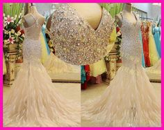 Wholesale Feather Prom Dresses - Buy Real Image Champagne Plunge V Neck Beads Feather Mermaid Celebrity Prom Dresses Ladies E4263, $141.2 | ...