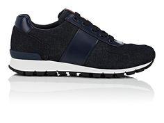 Mens Bande-appliqud Chaussures De Sport En Denim Prada 4ideML9QM