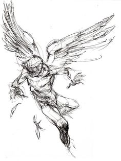 Icarus tattoo idea maybe with bastille quotes or mythological quote or his name in greek Tattoo Sketches, Tattoo Drawings, Drawing Sketches, Art Drawings, Icarus Tattoo, Figure Drawing, Drawing Reference, Tattoo Studio, Angel Drawing