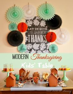 Mod Thanksgiving Kids Table | Not Just A Mommy via TheCelebrationShoppe.com