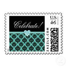 KRW Blue Jewel Heart Birthday Celebrate Postage