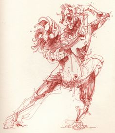 dancing tango kills - drawing -2010 made with fineliner -sold-