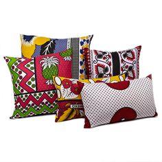 Zanzibari Kanga Cloth Pillow - Red Rings