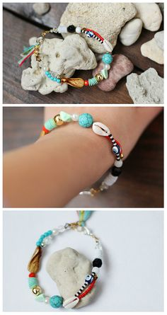 Beaded bracelet Shell bracelet Tassel bracelet Beach jewelry Ibiza bracelet Cowrie shell Teal tassel bracelet Beach Jewelry Summer bracelet Festival jewellery Stacking bracelet Evil Eye  Bracelet color, style beach for the summer, a lot of beads, looks nice  Natural turquoise, cats eye and shell. On the small arm  Bracelet size 20 cm; 7.87 inch Suitable at the hands of 15 cm; 5.90 inch Optionally, you can increase the bracelet  See my other decorations for the summer…