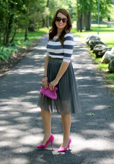 Tulle Skirt Dress, Striped Top, Pink Accessories