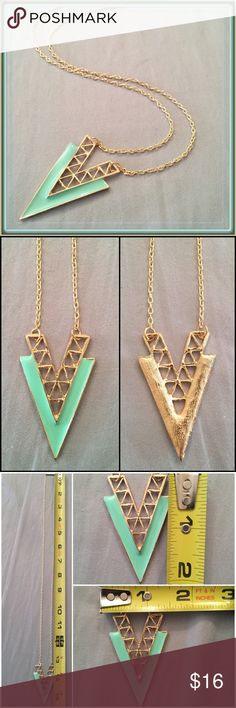 "Lasercut V mint pendent long chain necklace ➖NWT: beautiful gold color chain with mint seafoam green laser cut pattern double V design pendent long chain necklace *NOTE: none of these are stock photos*  ➖LENGTH: 15.5"" long drop : 31"" long chain ➖PENDENT SIZE: 2""L x 1.5"" W Entropy Jewelry Necklaces"